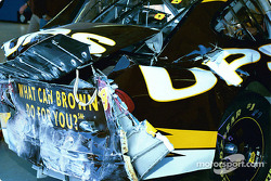 Dale Jarrett's damaged car in garage area