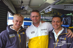 Heikki Kovalainen and Fabio Carbone with Fortec team manager David Hayles