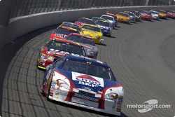 Jeff Burton leads Joe Nemechek and the rest of the field