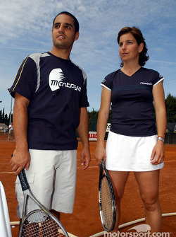 Charity tennis tournament at the Sanchez-Casal Academy in Barcelona: Juan Pablo Montoya and Arantxa Sanchez