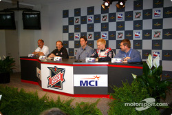 Bobby Rahal, Steve Lauletta, Tony George, Kenny Brack and Joie Chitwood are at the press conference to announce the Miller Brewing sponsorship as the official beer of the Indianapolis 501