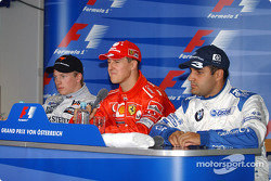Saturday press conference: pole winner Michael Schumacher with Kimi Raikkonen and Juan Pablo Montoya