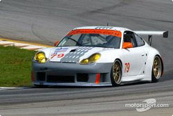 The Atlanta-based J3 Racing Porsche makes laps; David Murry of Cumming, Ga., and Justin Jackson of Buford, Ga., will drive the local car at their home track in the June 27-29 Chevy Grand Prix of Atlanta
