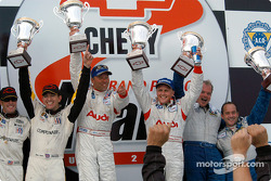 Podium: overall winners J.J. Lehto and Johnny Herbert, with Oliver Gavin, Kelly Collins, and Jon Field, Duncan Dayton
