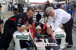 Paul Stoddart and Bernie Ecclestone with a yong fan
