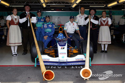 Nick Heidfeld, Heinz-Harald Frentzen and Peter Sauber with guests