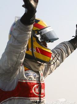 Frank Biela celebrates