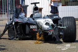 Kimi Raikkonen's wrecked McLaren