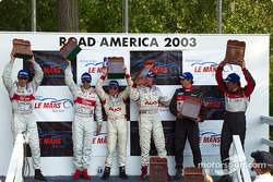 LMP900 podium: race winners J.J. Lehto and Johnny Herbert, with Frank Biela and Marco Werner
