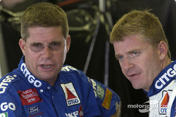 Jeff Burton chats with crew chief Paul Andrews