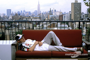 Jacques Villeneuve relaxes in a New York City loft