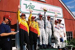 DP podium: race winners Terry Borcheller, Forest Barber, Andy Pilgrim, with Hurley Haywood, J.C. France, Darren Law and Patrick Huisman