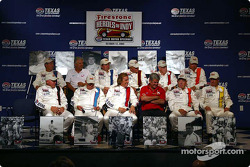 Press conference: Lloyd Ruby, Jim McElreath, Parnelli Jones, Gordon Johncock, Johnny Rutherford, Bill Vukovich, Tom Sneva, Pancho Carter, Arie Luyendyk and Scott Goodyear, with Rick Mears and Al Unser Sr.