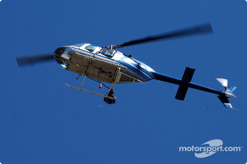 One of the many helicopters giving fans a birds eye view of the action