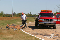Safety crew cleans up the track