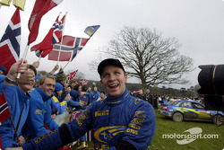 Petter Solberg celebrates with his Norwegian fans