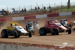 Hawaii sprinters Rodney Capello and Dean Freitas exiting turn four for the green flag