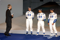 Jonathan Legard with Ralf Schumacher, Juan Pablo Montoya and Marc Gene