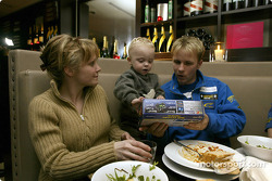 Subaru driver Petter Solberg has dinner with his wife Pernilla and their Son Oliver