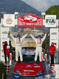 Podium: winners SŽbastien Loeb and Daniel Elena