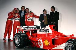 Michael Schumacher, Luca Badoer, Luca di Montezemelo, Rubens Barrichello, Jean Todt and Piero Ferrari