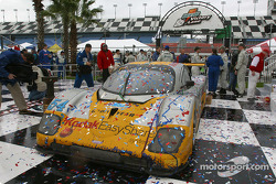 The winning car in victory lane