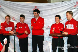 Mitsubishi Motors Corporation press conference: Kristian Sohlberg, Gilles Panizzi, technical director Mario Fornaris, Hervé Panizzi and Kaj Lindstrom