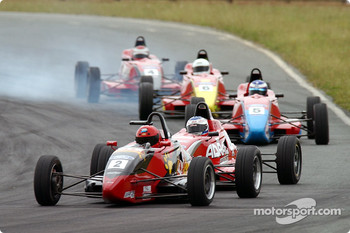 The future stars battle it out in the Formula Ford race