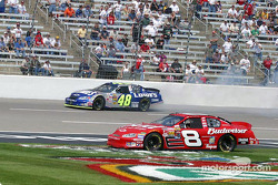 Dale Earnhardt Jr. avoids the spinning Jimmie Johnson