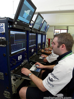 Williams-BMW engineers get ready for the San Marino GP in the telemetry area