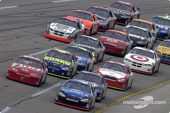 Mark Martin, Dale Earnhardt Jr. and Michael Waltrip lead the field