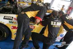 The U.S. Army crew in conference with Joe Nemechek