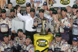 Race winner Jimmie Johnson celebrates with his team