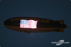 Good Year blimp, during a yellow flag