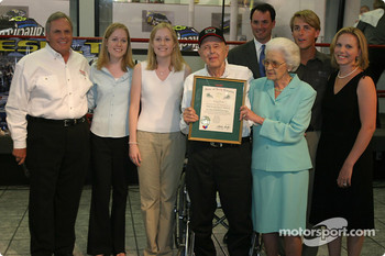 Papa Joe Hendrick award event: Papa Joe and Mary T. Hendrick with the Order of the Long Leaf Pine and their family.