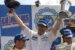 LM P1 podium: team owner Kazumichi Goh