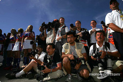 Photographers at work during pre-race ceremony