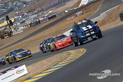 Pace laps: Jeff Gordon leads the field