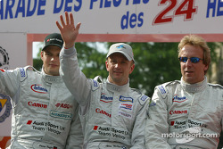 Pierre Kaffer, Allan McNish and Frank Biela