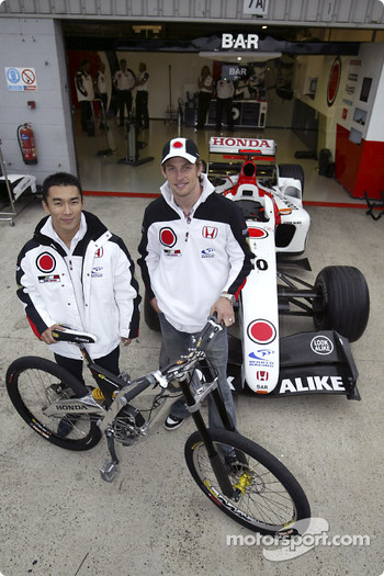 G-Cross Honda mountain bike presentation: Takuma Sato and Jenson Button