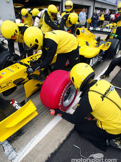 The Jordan EJ14 sports a red Bridgestone tyre in aid of the charity Sport Relief
