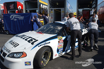 The #12 ALLTEL Dodge comes off the hauler