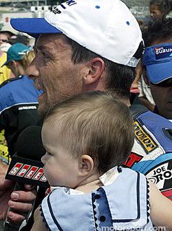Race winner Mat Mladin celebrates