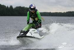 Mattias Ekström on a jetski