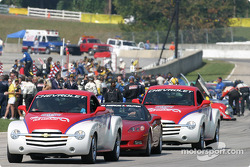 Pace cars lead the field to pace laps