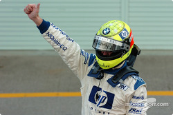 Ralf Schumacher celebrates second place finish