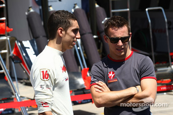 Sebastien Buemi, Scuderia Toro Rosso with Christian Klien, test driver, Hispania Racing F1 Team