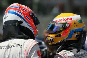 Third place Jenson Button, McLaren Mercedes and second place Lewis Hamilton, McLaren Mercedes