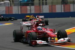 Fernando Alonso, Scuderia Ferrari leads Felipe Massa, Scuderia Ferrari