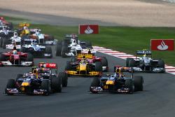 Start: Sebastian Vettel, Red Bull Racing and Mark Webber, Red Bull Racing